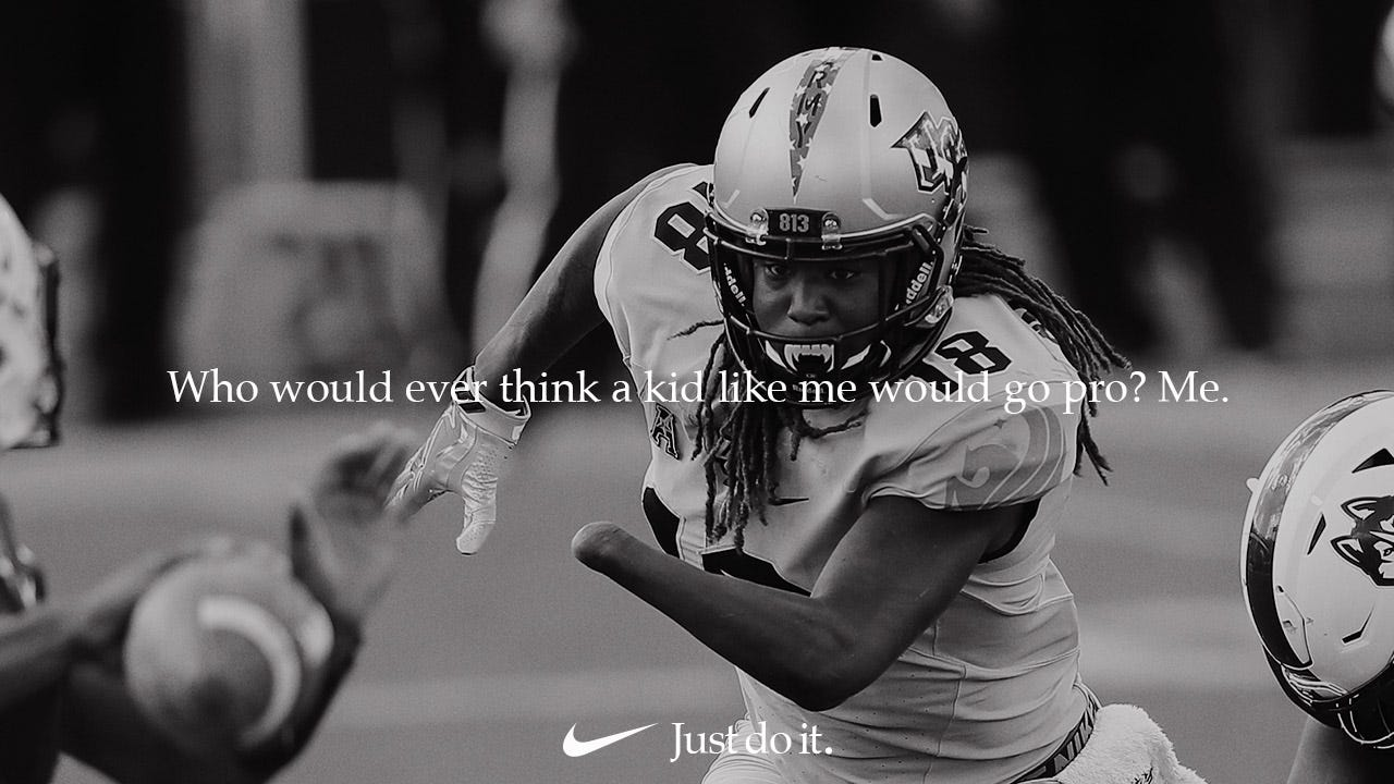 Nike ad featuring Shaquem Griffin.