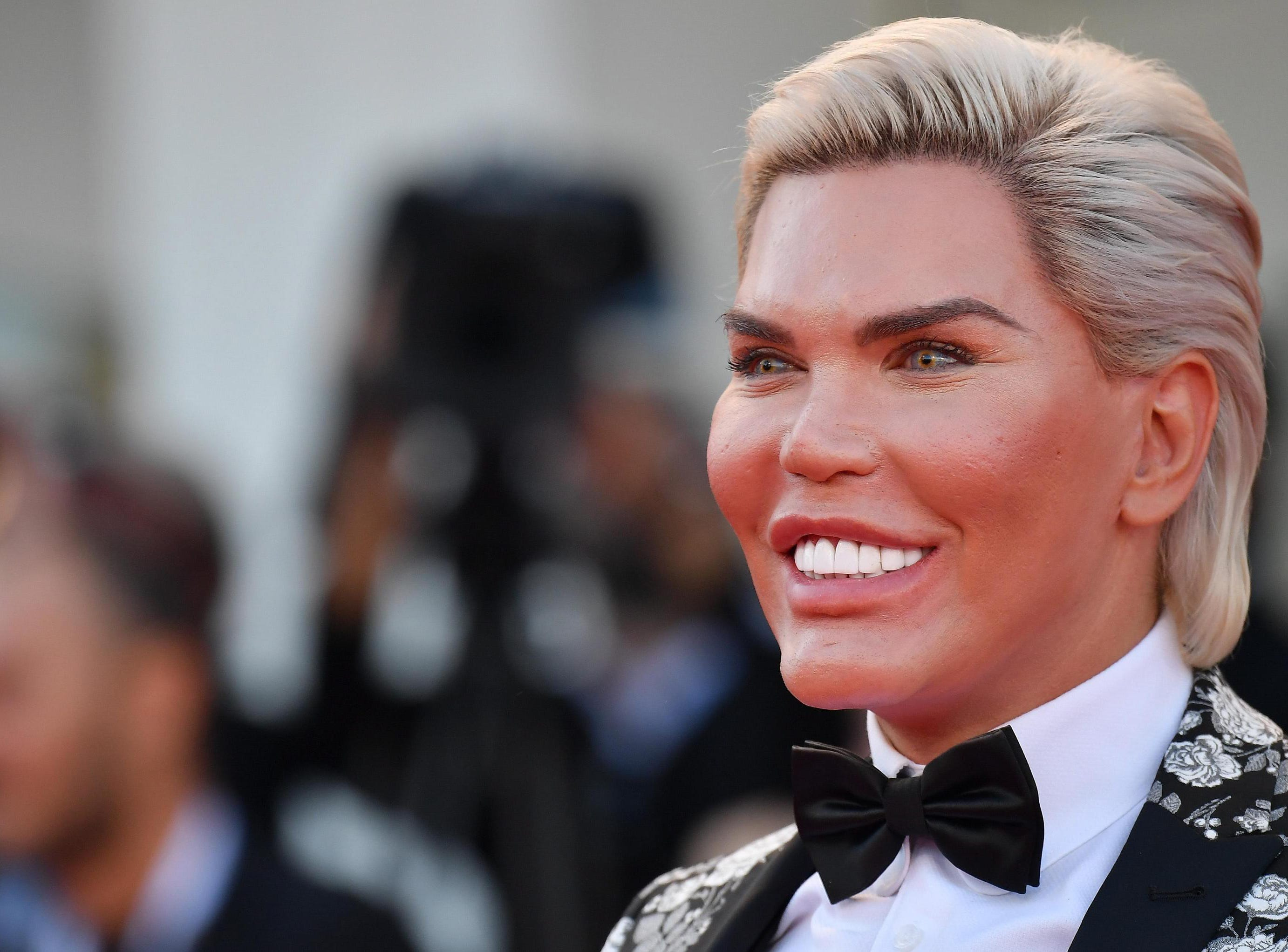 Rodrigo Alves, known as The Human Ken, arrives for the premiere of 'Vox Lux' during the 75th annual Venice International Film Festival.