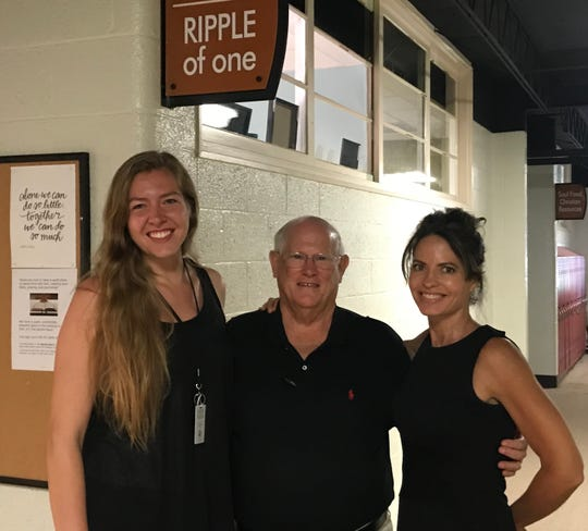 "Emily "" Ray"" Raymer, left, Randy Moore, and Stephanie Enders, right, outside the new office of Ripple of One, in the Dream Center of Pickens County."