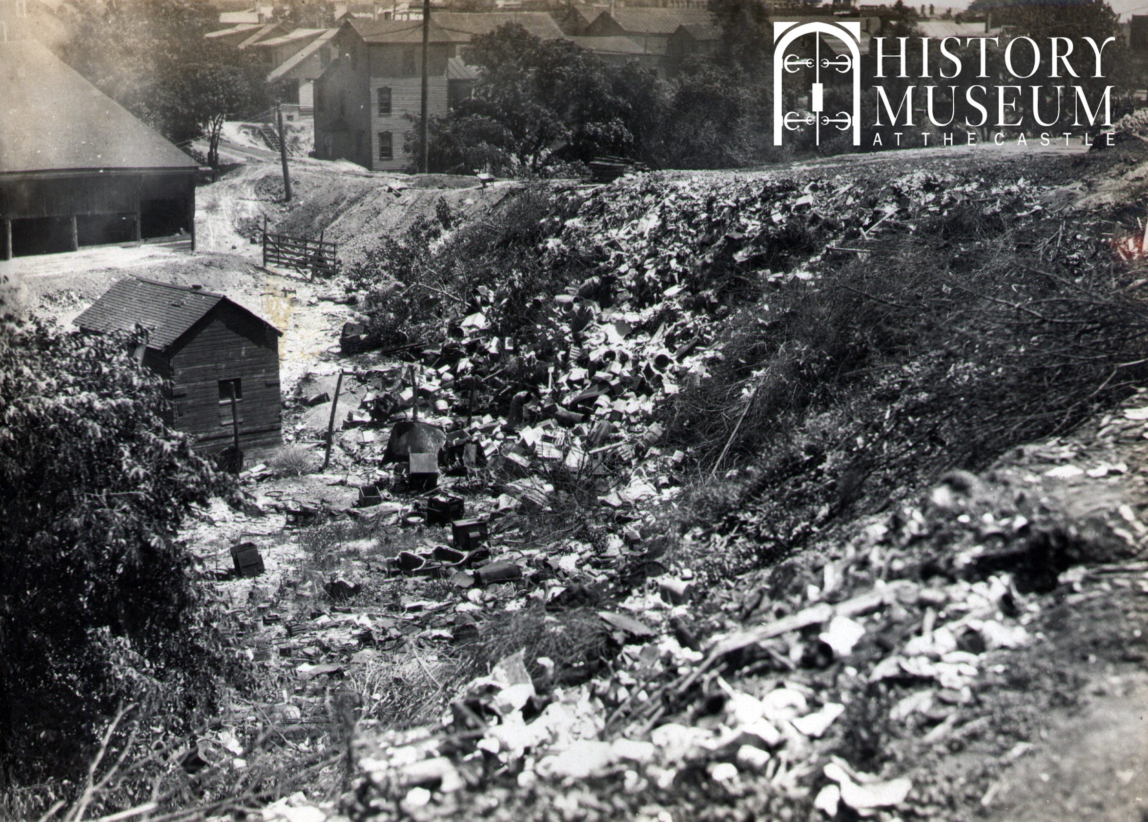 This 1922 photo shows the Mill Creek ravine in the area that is now Jones Park. In those days, residents were allowed — and sometimes encouraged — to toss trash into the ravine.