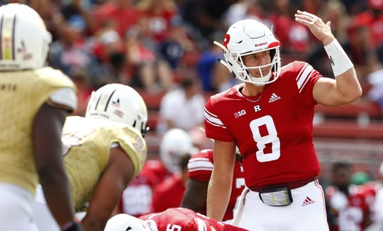 Sep 1, 2018; Piscataway, NJ, USA; Rutgers Scarlet Knights quarterback Artur Sitkowski (8) during first half the Texas State Bobcats at High Point Solutions Stadium