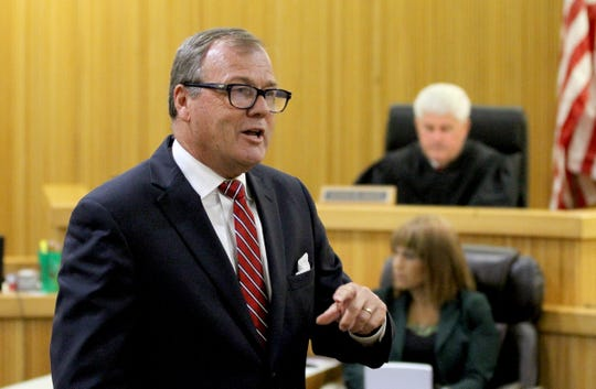 Raquel Garajau's defense attorney Robert Honecker delivers his closing statement during her trial in State Superior Court in Freehold Wednesday, September 5, 2018.  She is on trial for the murder of marijuana dealer Trupal Patel.