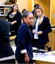 Raquel Gardajau stands at the end of closing arguments during her trial in State Superior Court in Freehold Wednesday, September 5, 2018.