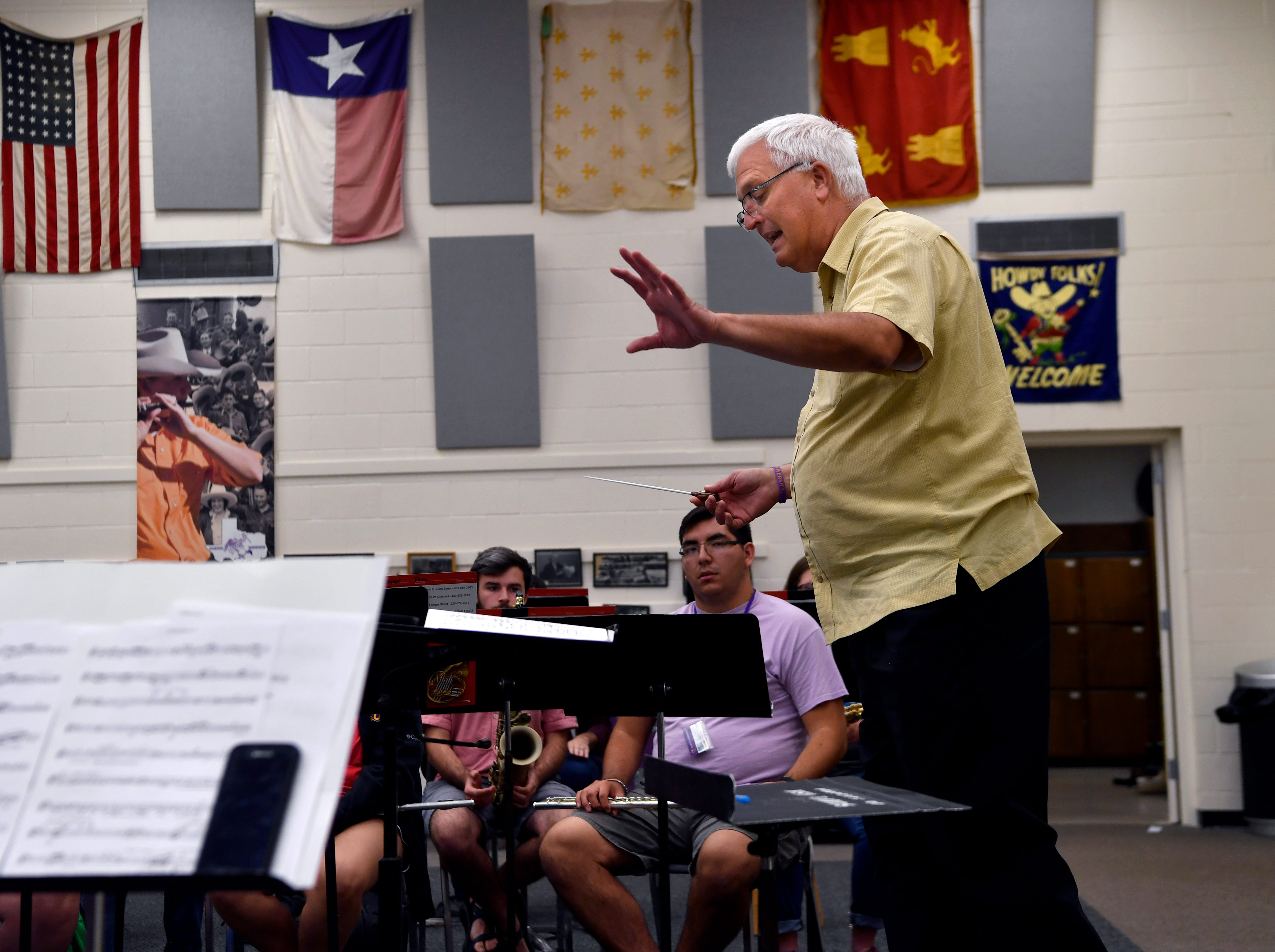 Billy Harden, assistant professor of music and director of bands, leads a concert band rehearsal Sept. 5 at Hardin-Simmons University. Harden succeeded Wayne Dorothy, who was reassigned by the university in May.
