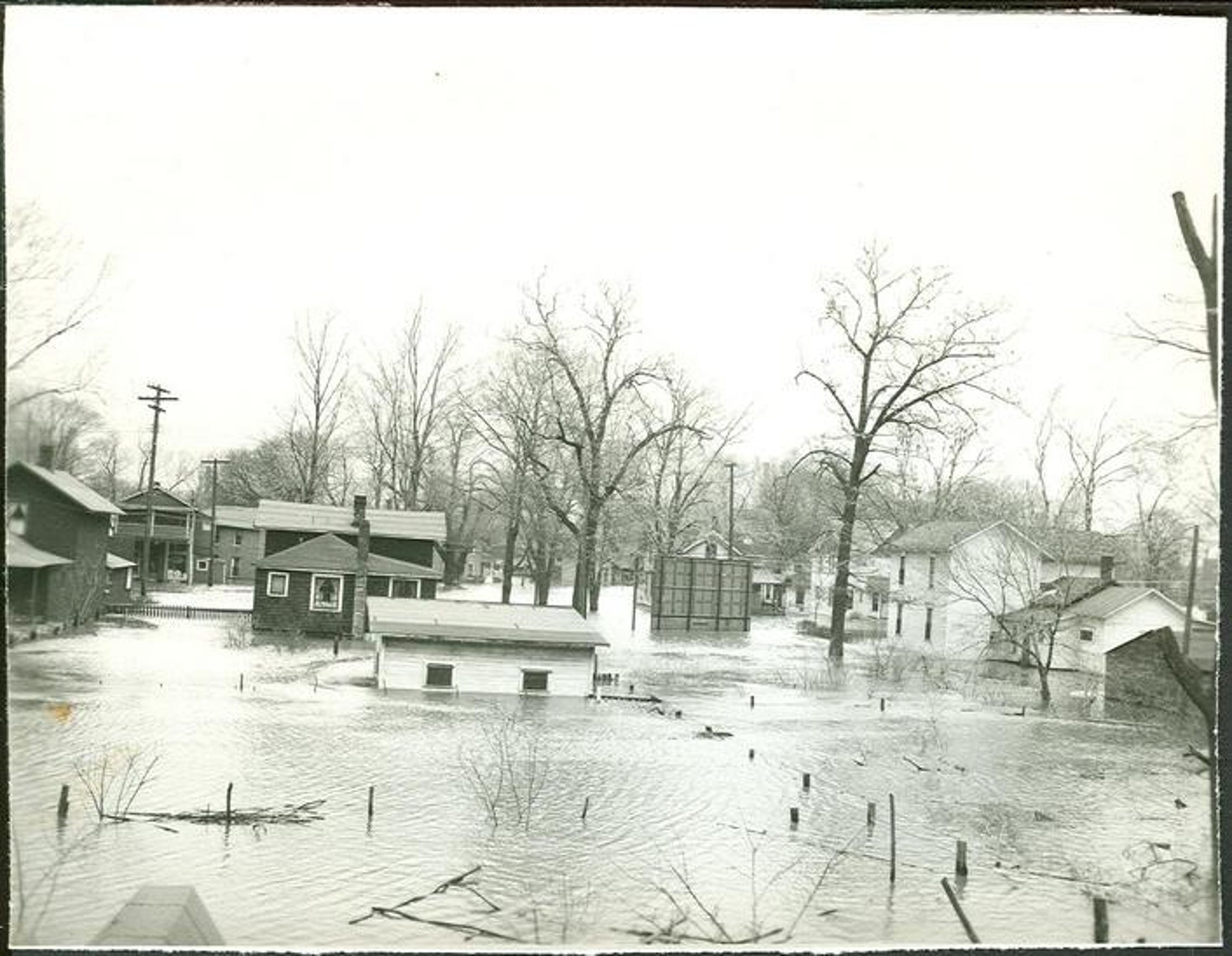 Homes in the bottoms neighborhood under water during the flood of 1947.