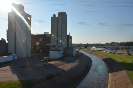 "The ""cement river"" is part of the Kalamazoo River that winds around the former cereal plant at 150 South McCamly Street."