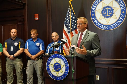 Broome County District Attorney Steve Cornwell introduces ten School Resource Officers who will be serving in seven local school districts this year.