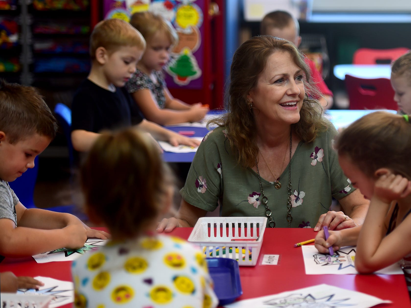 Kindergarten teacher Mrs. Carolyn Kisloski with students during the first day of classes at Owego Elementary School, Owego, Wednesday, September 5, 2018.