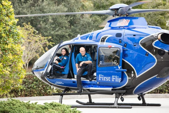 The First Flight helicopter and its crew is already ready to move at a moment's notice.