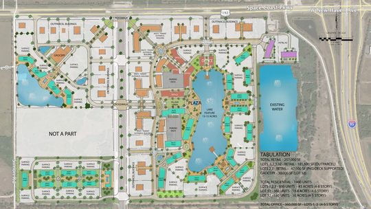 This map depicts the proposed Space Coast Town Center in West Melbourne.