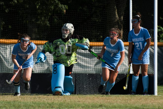 South Burlington runs out of the net for a corner during the girls field hockey game between the South Burlington Wolves and the Rice Green Knights at Rice Memorial High School on Tuesday afternoon September 4, 2018 in South Burlington.