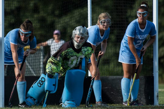 South Burlington waits for a corner during the girls field hockey game between the South Burlington Wolves and the Rice Green Knights at Rice Memorial High School on Tuesday afternoon September 4, 2018 in South Burlington.
