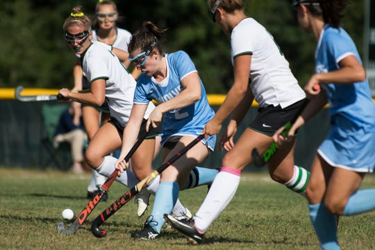 South Burlington's Kate Hall (2) runs down the field with the ball during the girls field hockey game between the South Burlington Wolves and the Rice Green Knights at Rice Memorial High School on Tuesday afternoon September 4, 2018 in South Burlington.