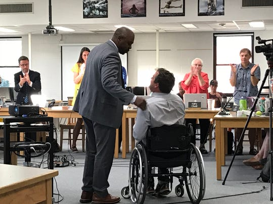 Former School Board member Ryan McLaren was thanked for his service to the district at a June 12, 2018 meeting.
