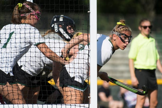 Rice's Lisa McNamara (2) runs out of the net for a corner during the girls field hockey game between the South Burlington Wolves and the Rice Green Knights at Rice Memorial High School on Tuesday afternoon September 4, 2018 in South Burlington.
