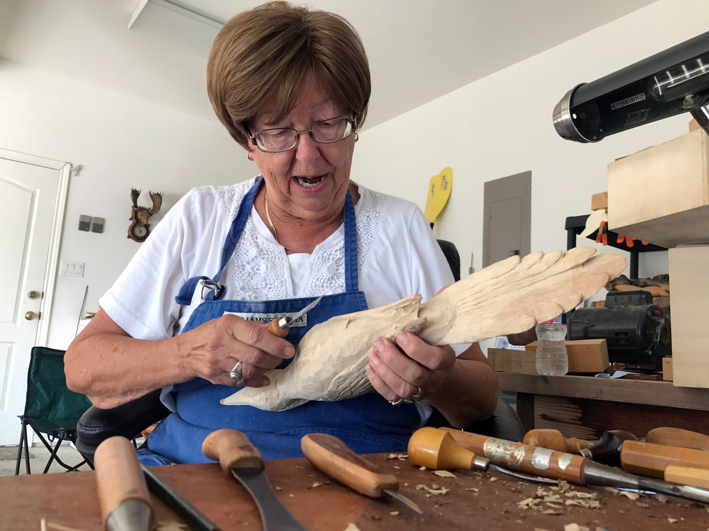 Posluszny works in her garage at least a couple of hours daily.