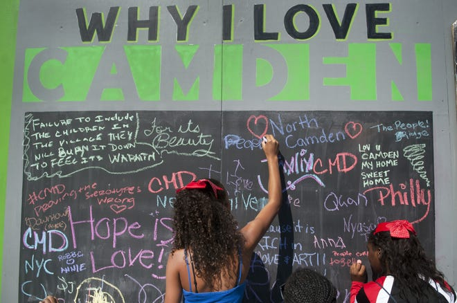 Children write down reasons they love Camden on a chalkboard during the first Camden Jam in 2015.