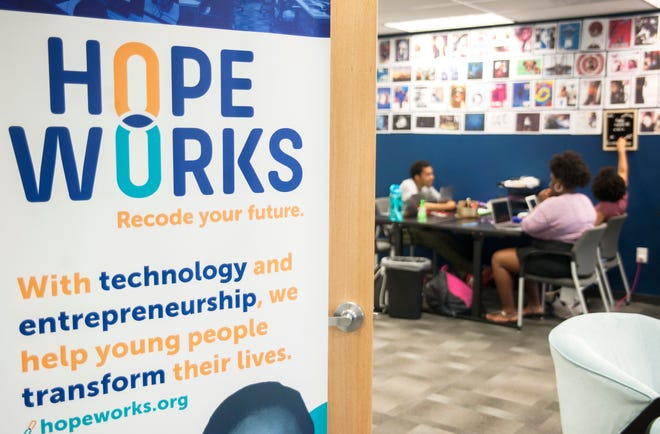 Members of Hopeworks N Camden's youth healing team work in Hopeworks new office located at 808 Market Street in Camden.