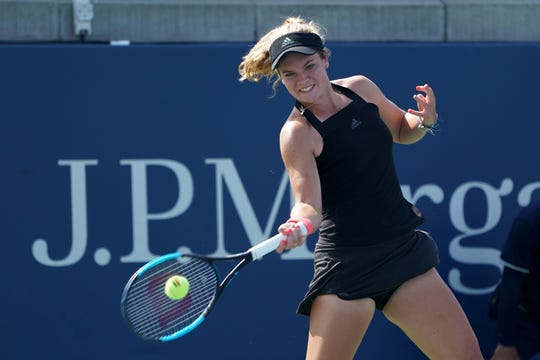 September 05, 2018 - Catherine McNally in action against Emma Jackson during a Junior match at the 2018 US Open.