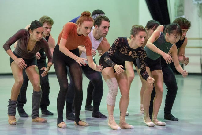"""Cincinnati Ballet company members in a recent rehearsal for choreographer Myles Thatcher's """"Anomaly."""" The work will be seen as part of the company's """"Kaplan New Works Series,"""" running Sept. 13-23 in the Aronoff Center's Jarson-Kaplan Theater."""