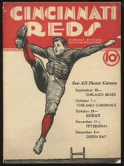 Program from the 1934 Cincinnati Reds, an early NFL football team and one of the least successful.
