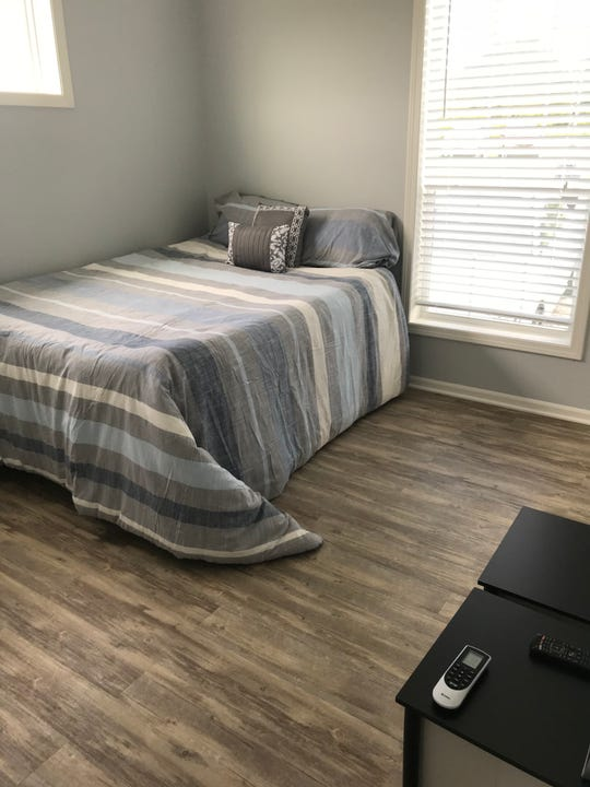 The bedroom of the Veterans Village model home