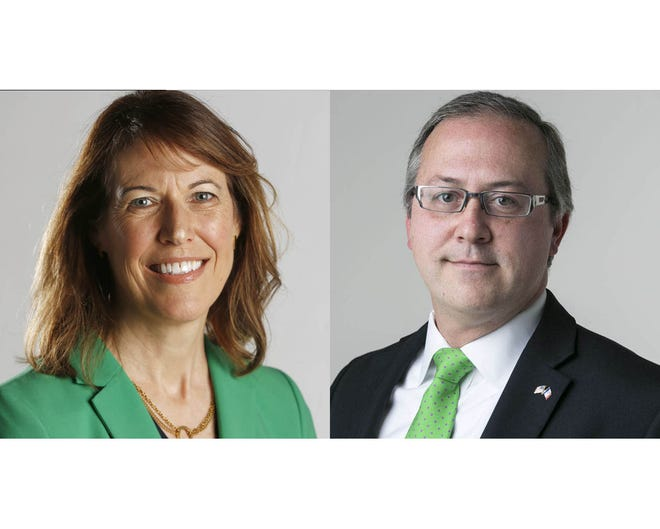 Democrat Cindy Axne and Republican David Young, Iowa's 3rd Congressional District candidates.