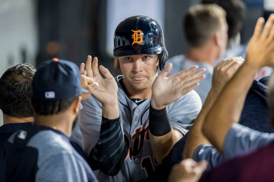 Detroit Tigers catcher Grayson Greiner celebrates after scoring during the second inning against the Chicago White Sox at Guaranteed Rate Field on Sept. 4, 2018 in Chicago.