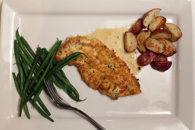 Panko-crusted Chicken Cutlets with Tangy Mustard Sauce