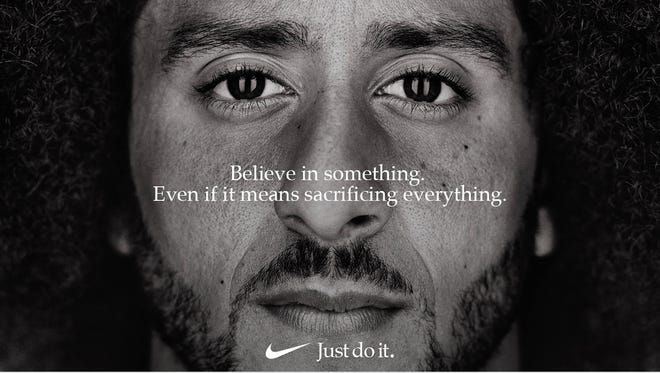Former San Francisco 49ers quarterback Colin Kaepernick appears in a Nike ad campaign in September 2018.