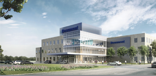 A conceptual artist rendering by HKS Architects of Beaumont Health's new outpatient campuses that it is planning to build in Lenox Township and western Wayne County. NexCore Group is building the centers.