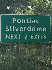 One Silverdome traffic sign signals the next two exits where the iconic stadium once stood.