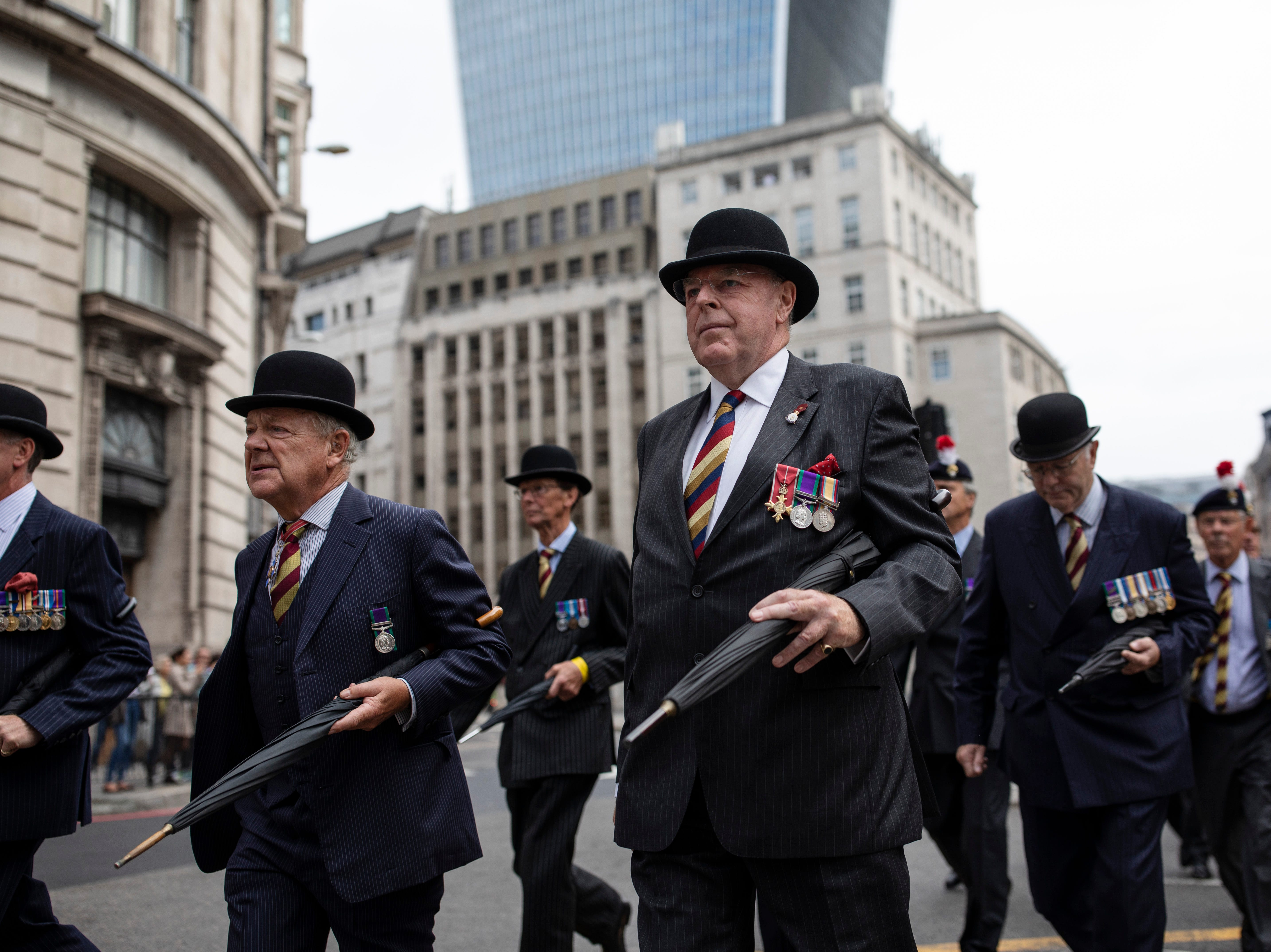 "Veterans march through the City of London on Sept. 5, 2018 in London, England. Serving and retired personnel of the Royal Fusiliers exercise their right to march through the Square Mile as one of the City of London's Privileged Regiments to celebrate its 50th anniversary. The Royal Regiment of Fusiliers, known as ""The Fusiliers,"" is an English infantry Regiment in the British Army, formed from four historic Fusilier Regiments in 1968."