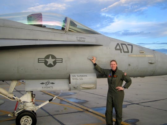 Corning native Laurie Coffey and the FA/18 she flew for the United States Navy.
