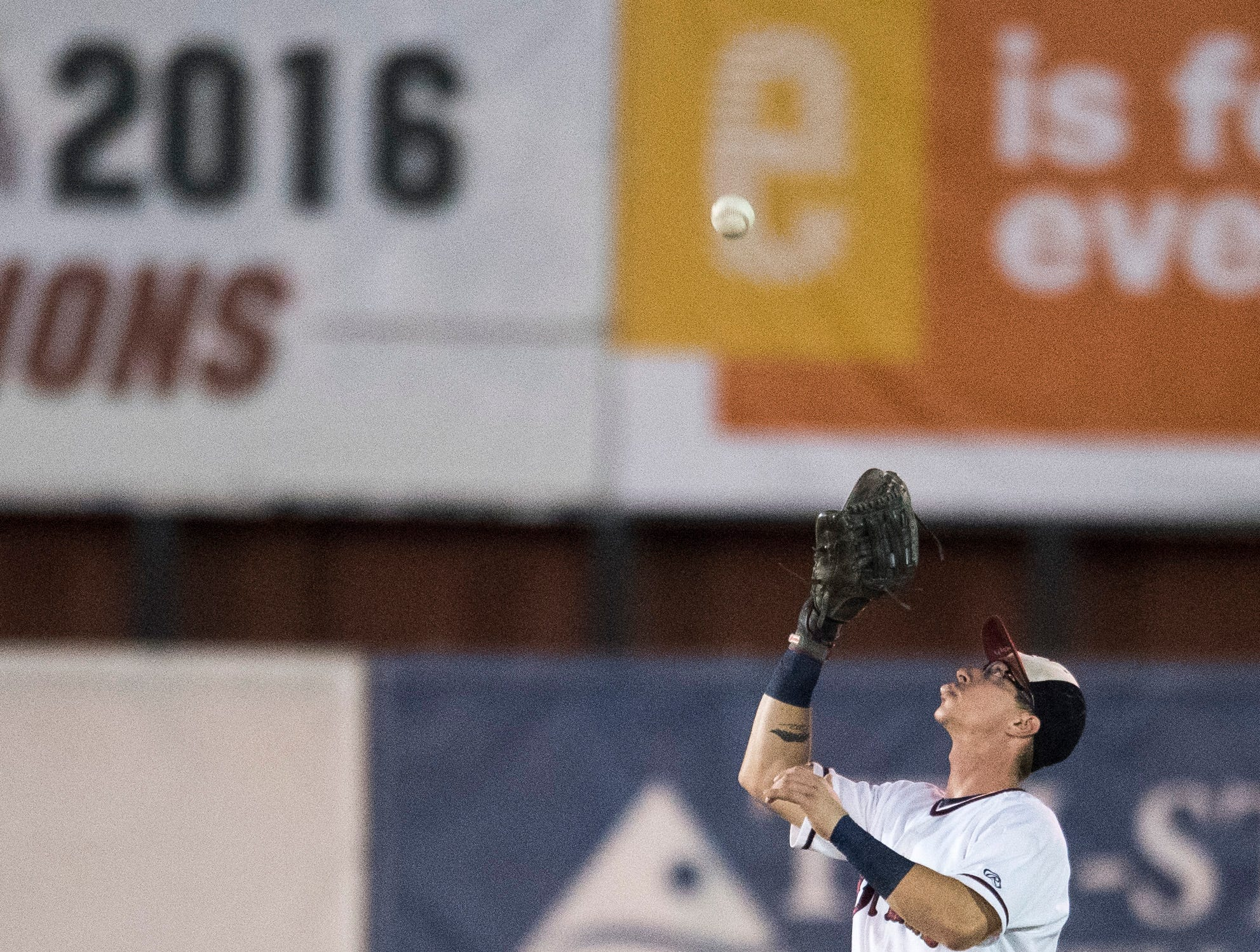 Evansville's Hunter Cullen (43) catches pop fly during game one of the Frontier League Division Series at Bosse Field against the Washington Wild Things Tuesday, September 4, 2018.