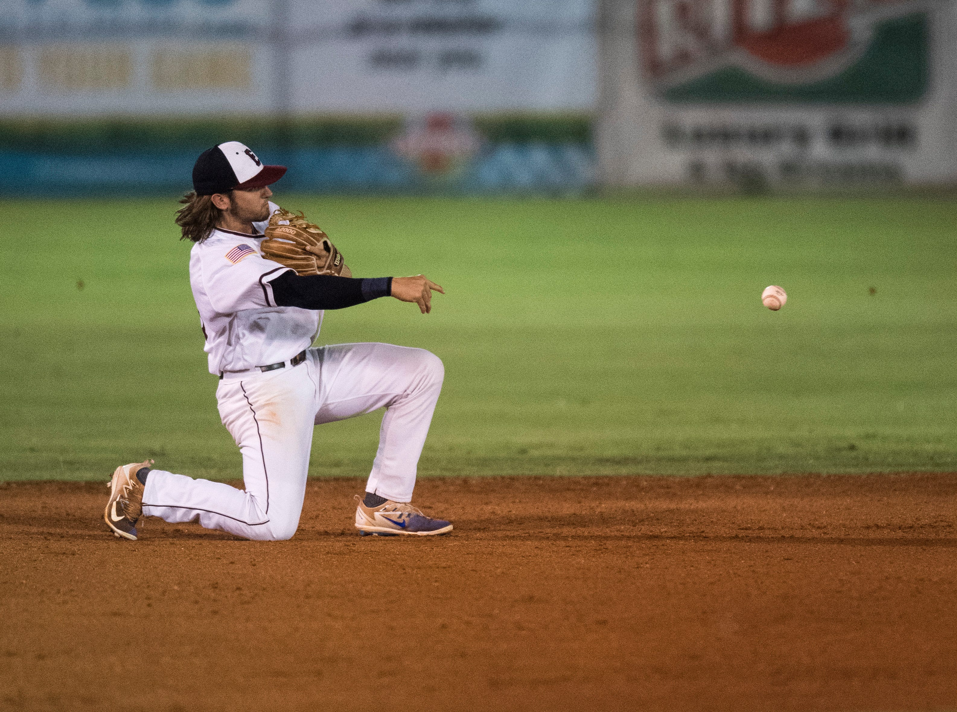 Evansville's J.J. Gould (31) throws the ball to second base during game one of the Frontier League Division Series at Bosse Field against the Washington Wild Things Tuesday, September 4, 2018.