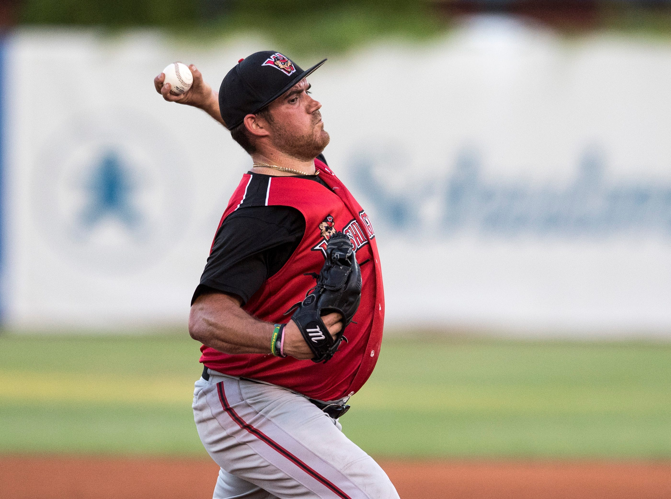 Washington's Thomas Dorminy (13) pitches the ball during game one of the Frontier League Division Series at Bosse Field against the Evansville Otters Tuesday, September 4, 2018.