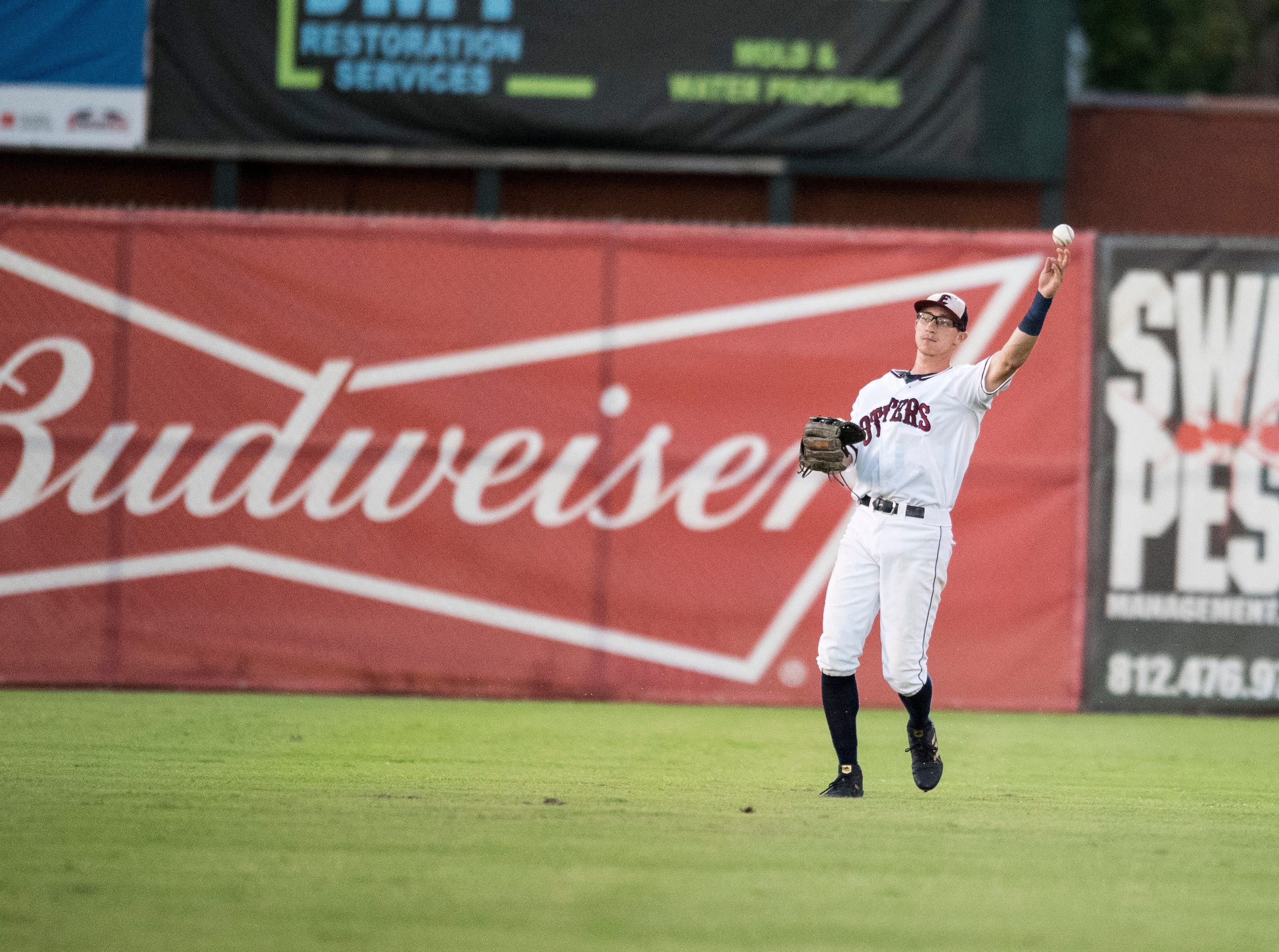Evansville's Hunter Cullen (43) throws the ball in after catching a pop fly in the second inning during game one of the Frontier League Division Series at Bosse Field against the Washington Wild Things Tuesday, September 4, 2018.