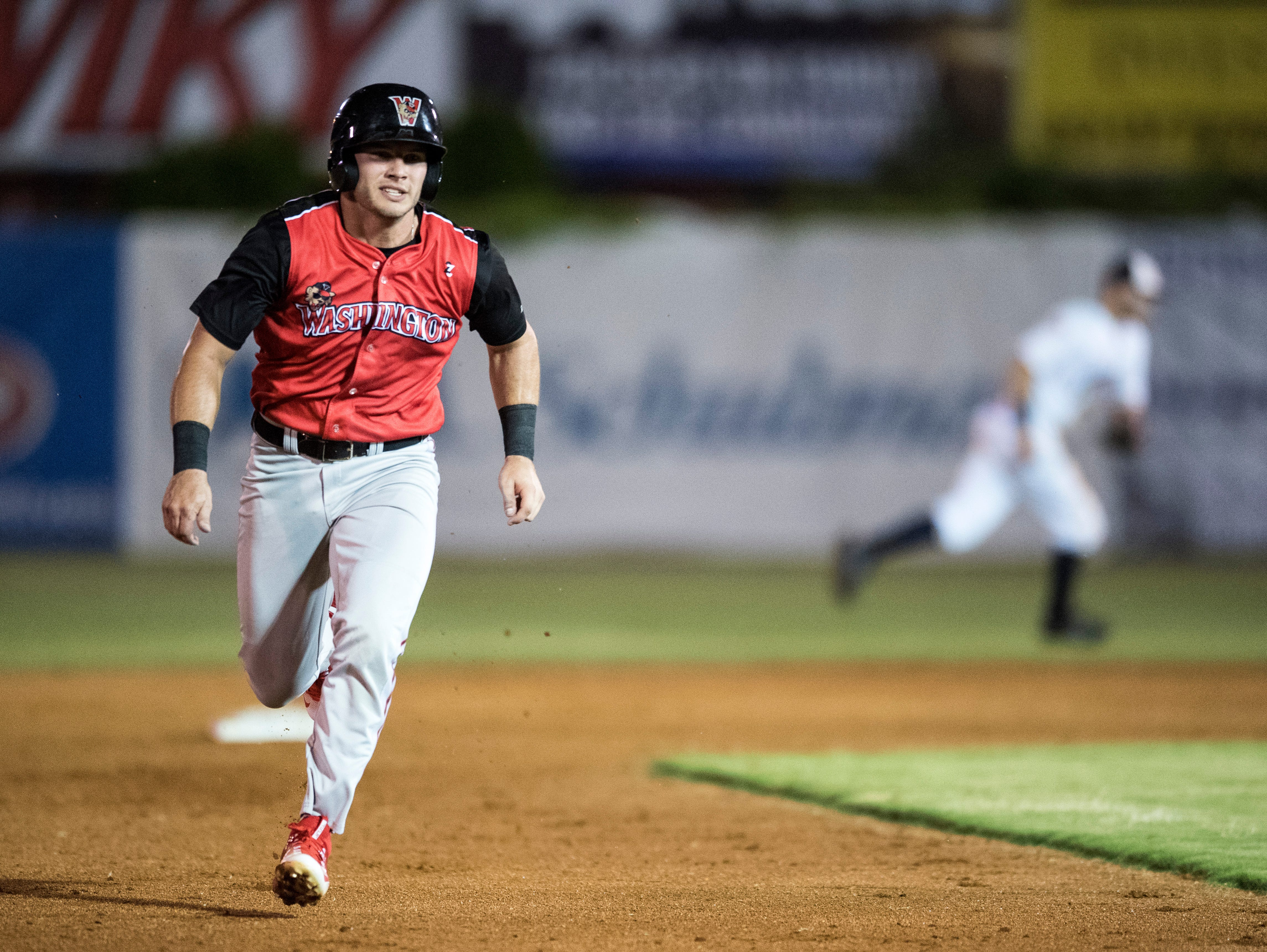 Washington's Dom Lero  (7) races to third base during game one of the Frontier League Division Series at Bosse Field against the Evansville Otters Tuesday, September 4, 2018.