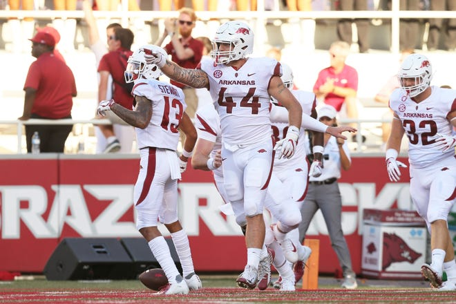 Arkansas tight end Austin Cantrell (44) celebrates after scoring a touchdown last Saturday in the Razorbacks' 55-20 win over Eastern Illinois in Fayetteville, Ark. Arkansas will become just the second Southeastern Conference team to ever play at CSU when the Razorbacks come to Fort Collins for a 5:30 p.m. game Saturday at Canvas Stadium.