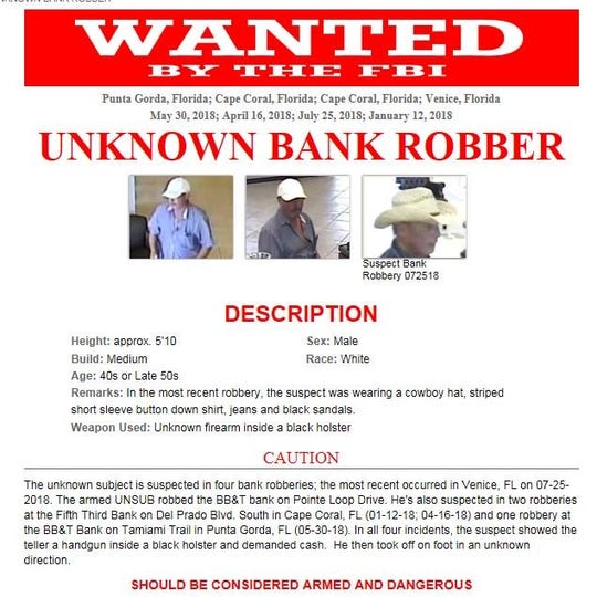 The FBI is seeking information on a man they said allegedly robbed four Southwest Florida banks since January.