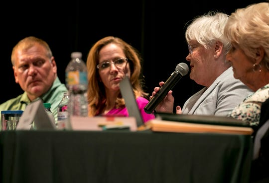 Pam LaRiviere of the Lee County School Board answers a question from The News-Press Editorial Board at the town hall meeting Wednesday about the proposed 1/2 cent sales tax to fund capital projects for the Lee County School District.
