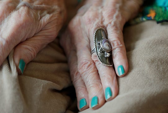 The hands of Rose Skenandore Kerstetter, an accomplished potter who celebrated turning 100 years old Wednesday at the Anna John Residential Care Center on the Oneida Reservation in Hobart.