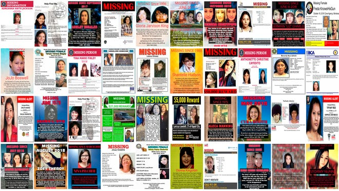 This combination of images from various law enforcement agencies and organizations shows posters of missing and murdered Native American women and girls as of September 2018.