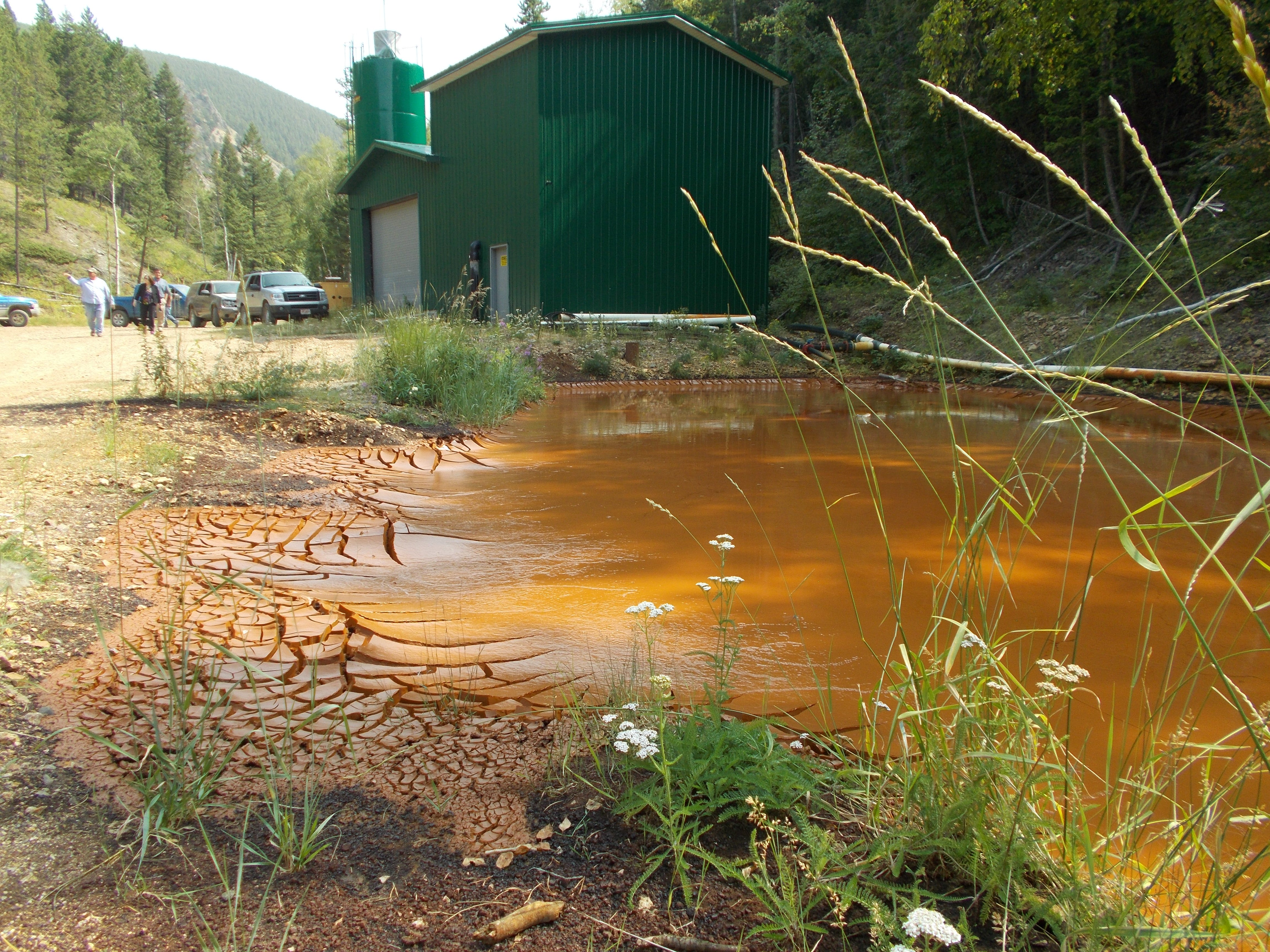 The Swift Gulch Water Treatment Plant, located in the Little Rocky Mountains, treats acid rock drainage from the Landusky mine.