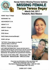 "This missing person poster provided by Navajo Nation Missing Persons Updates is seeking information in the 2017 disappearance of Tanya Begay from Tohatchi, N.M. Begay, a mother of two whom one friend described as ""bubbly,"" was last seen after stopping to visit a relative's home in New Mexico, according to a police report. (Navajo Nation Missing Persons Updates via AP)"