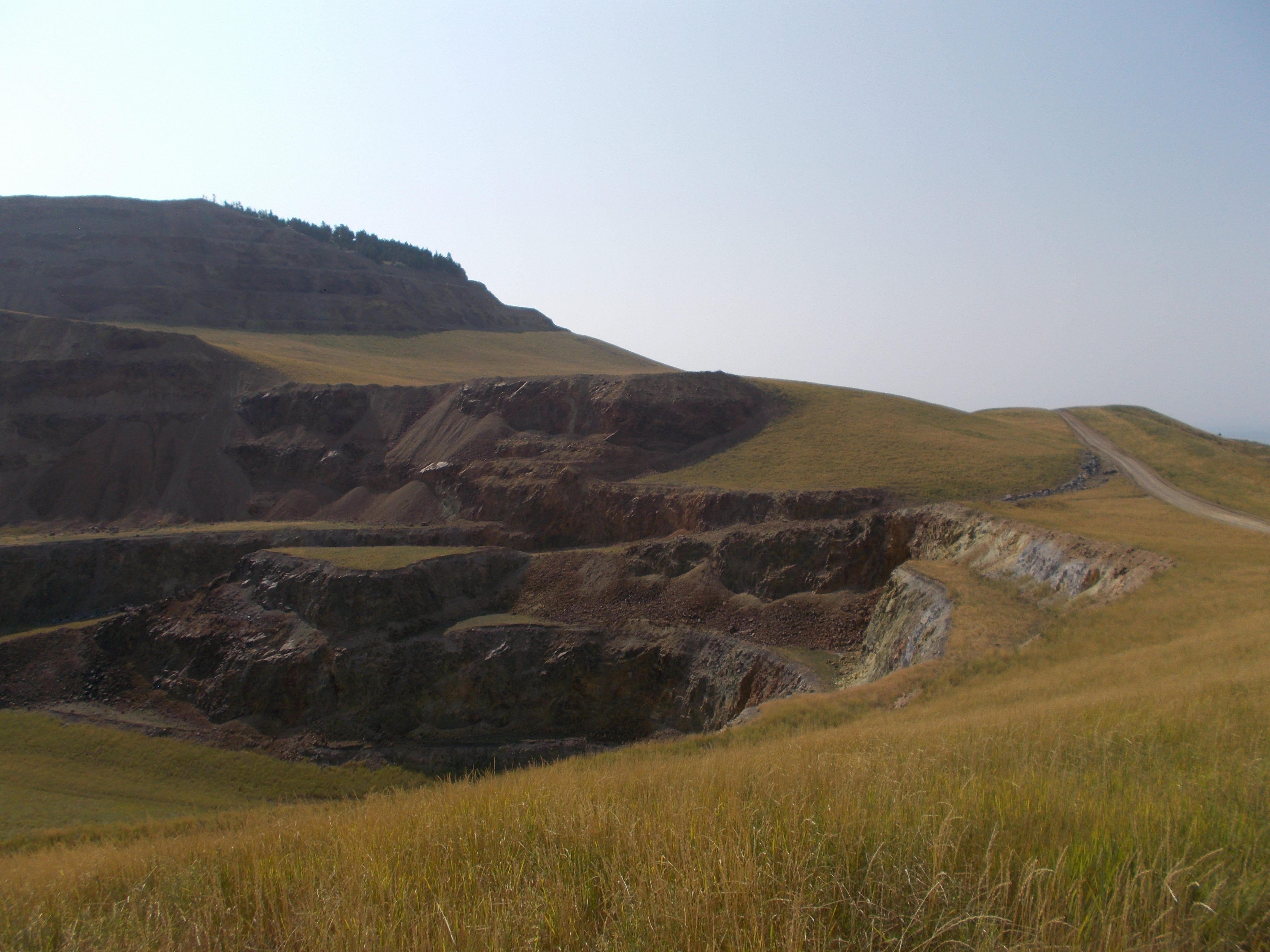 The Landusky gold mine pit just east of the Fort Belknap Reservation.