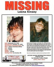 This missing person poster provided by Carolyn DeFord is seeking information in the 1999 disappearance of her mother, Leona Kinsey, in La Grande, Oregon. DeFord believes her mother, a member of the Puyallup Tribe, was likely a victim of foul play at the hands of a man she was supposed to meet that day. No one has been charged in her case. (Courtesy of Carolyn DeFord via AP)