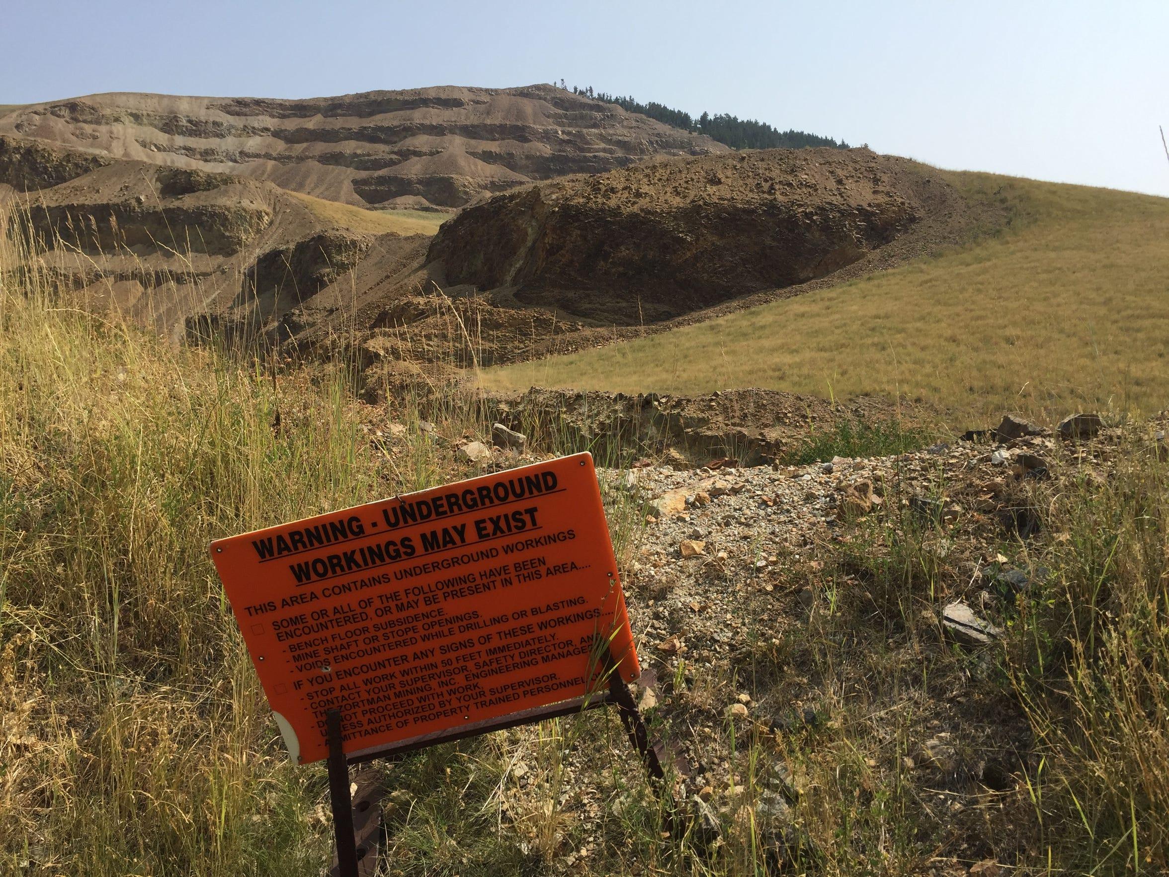 The Landusky gold mine pit.