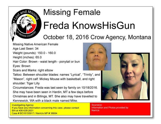 "This missing person poster provided by Lost and Missing in Indian Country is seeking information in the 2016 disappearance of Freda Knowshisgun. Knowshisgun's family on the Crow Indian Reservation in Montana began to worry something truly terrible may have happened when an aunt passed away in the fall of 2016 and she didn't come home. ""It sits on our chest and shoulders,"" her sister Frances Knowshisgun says. (Courtesy of Lost and Missing in Indian Country via AP)"